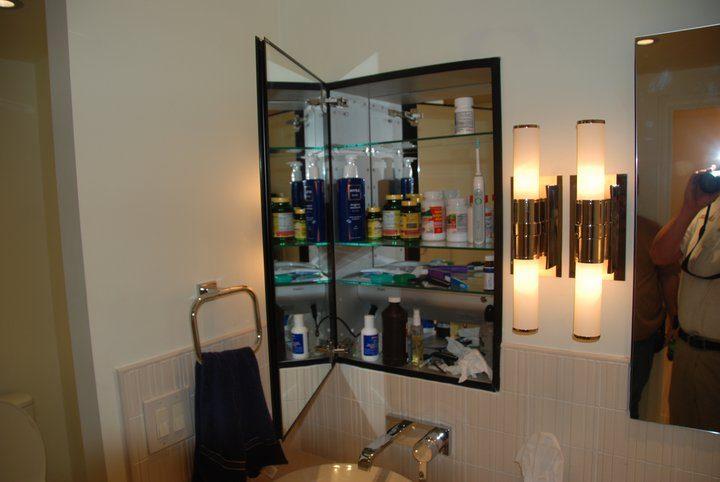 master bathroom recessed cabinet