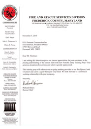 Frederick Fire Department Thank You Note